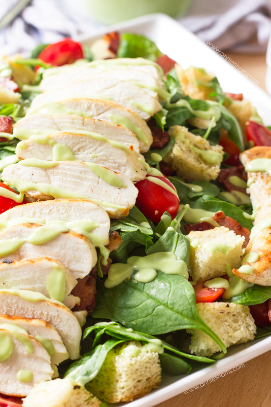 Chargrilled Chicken & Bacon Salad with Avocado Dressing | Annie's Noms