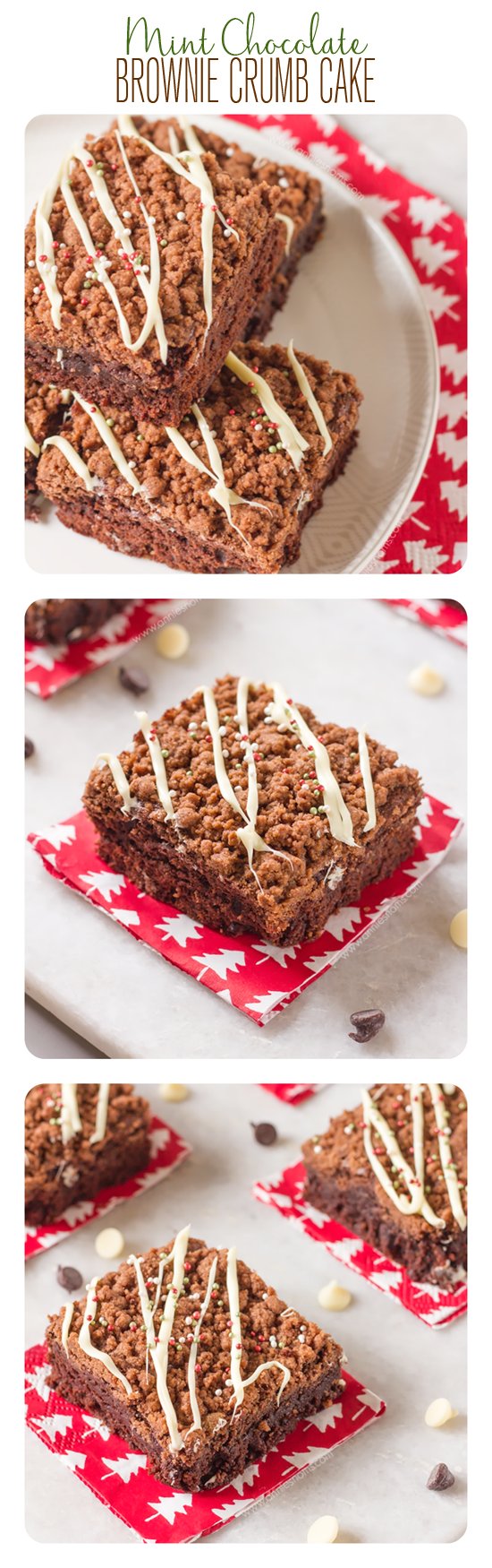 I took my favourite brownies, added a little peppermint and then sprinkled a chocolatey crumble mix on top to create these divine crumb bars!