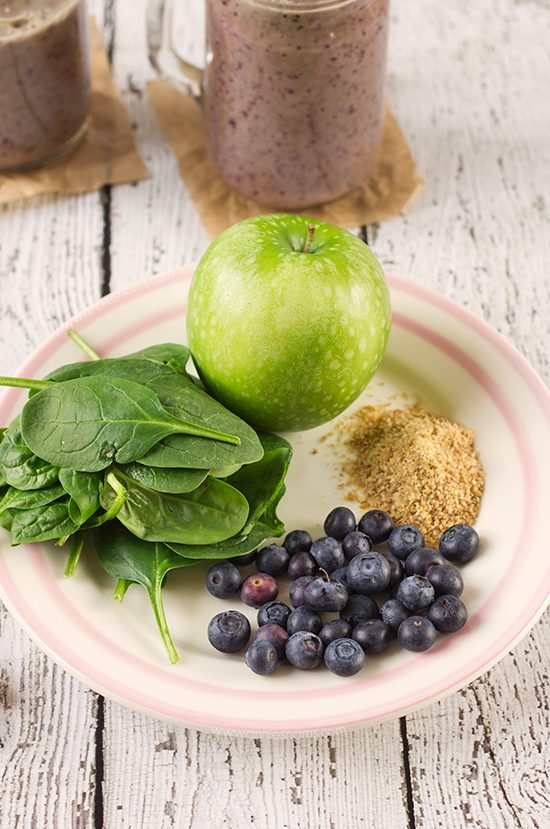 A super food smoothie packed with apple and blueberry along with spinach and a little flax. Energy boosting and filling, this is the perfect smoothie to start your day off right!