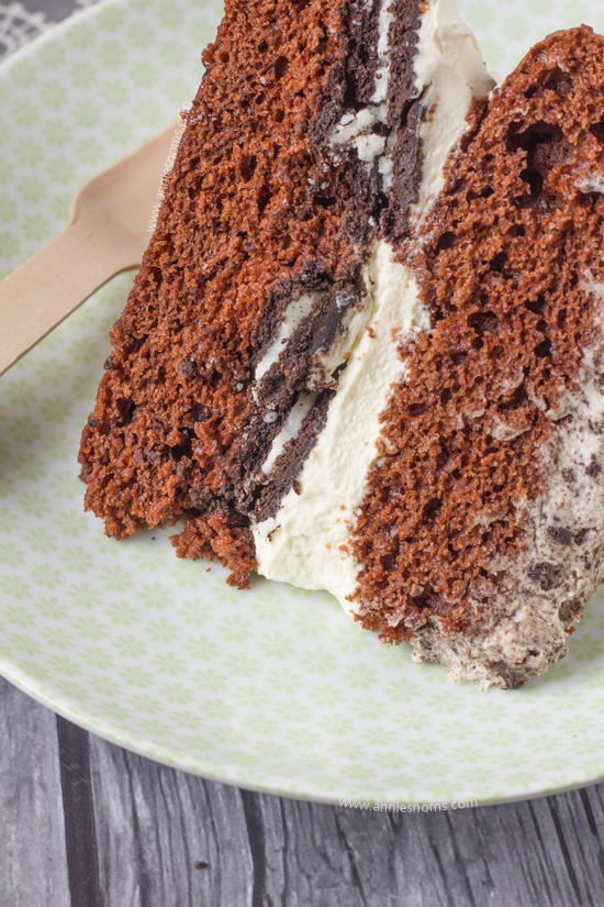 "My ""Naked"" Oreo Lover's Cake is one decadent, delicious dessert! Super simple to make, it looks like it took you hours to perfect those rich, chocolate cakes, crunchy Oreo centre and perfectly smooth whipped cream frosting."
