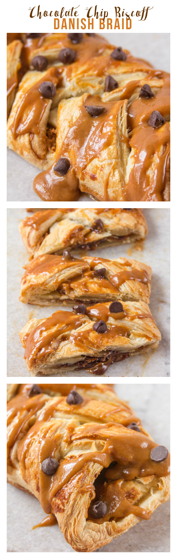 This easy Chocolate Chip Biscoff Danish Braid is ready in 30 minutes and tastes utterly divine. Rich chocolate cuts through the sweet, spicy Biscoff to create a gooey centre to the crisp, flaky puff pastry braid. A heavenly dessert or super decadent breakfast!