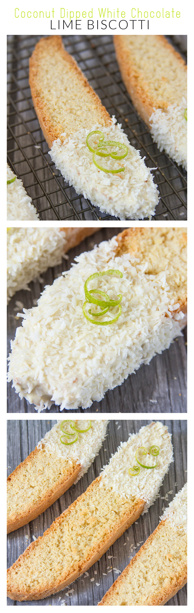 Coconut Dipped White Chocolate Lime Biscotti | Annie's Noms