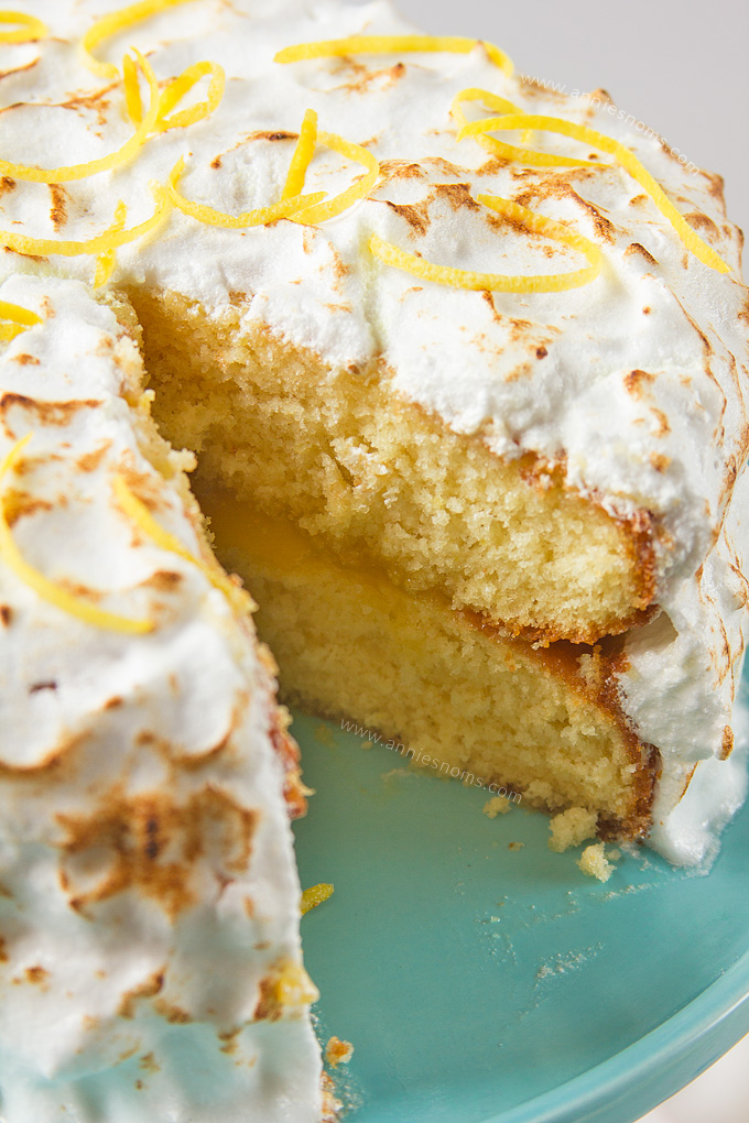 My Lemon Meringue cake is light, tender and lemon filled. Filled with lemon curd and covered in the most pillowy soft meringue, it's easy to make and makes the perfect afternoon treat!
