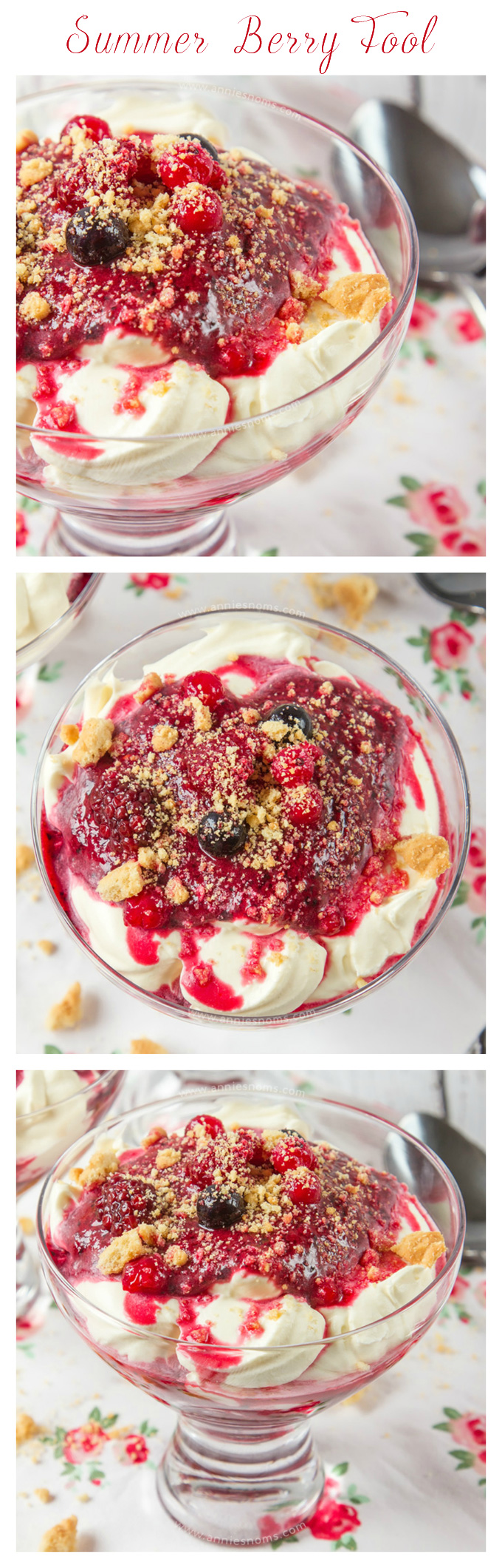 A quick and easy, no-bake dessert made with sweetened whipped cream, a mix of luscious Summer berries and biscuit crumbs. Perfect to make-ahead of time, everyone will fall in love with these creamy, refreshing pots of heaven!