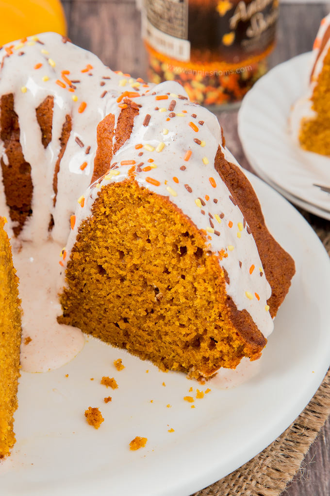 My Pumpkin Bundt Cake is soft, sweet and spicy. Filled with a whole can of pumpkin and topped with a creamy cinnamon cream cheese glaze, it's sublime!